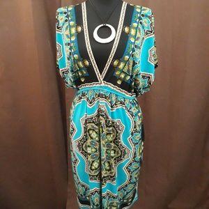 Snap V Neck Dolman Sleeve Stretch Dress Cover Up